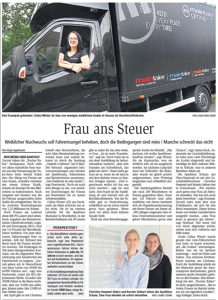Frau Ans Steuer – Beitrag Im Darmstädter Echo Vom 15.08.2019